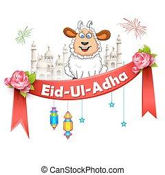 adha, ul, eid, plano de fondo, bakra, identificación, feliz