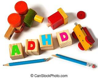 adhd, begriff, mit, spielzeuge