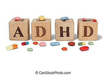ADHD on wooden blocks