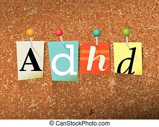 ADHD Pinned Paper Concept Illustration