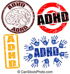 Set of grunge rubber stamps with the text ADHD related to the Attention Deficit Hyperactivity Disorder