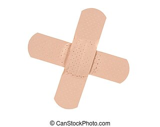 Adhesive band-aid cross on white