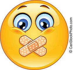 Adhesive bandage emoticon - Emoticon with adhesive bandages...