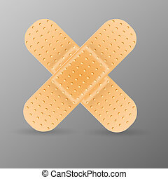 Adhesive bandage isolated on grey background. Vector...
