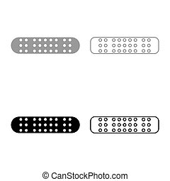 Adhesive Bandage Medical plaster icon outline set black grey color vector illustration flat style image