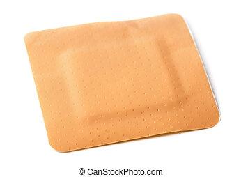 Square adhesive bandage isolated on white