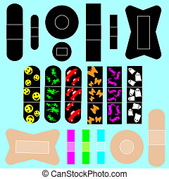 Adhesive bandages vector set - Adhesive bandages in various ...