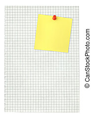 adhesive note and squared pape