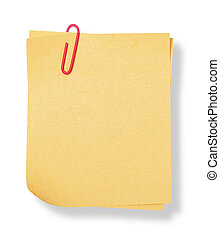 adhesive note with shadow on white background