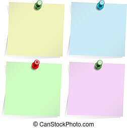 Adhesive notes isolated on white - Four adhesive notes with ...