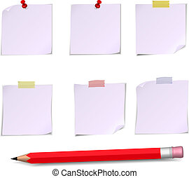 Adhesive Notes with pin, scotch and pencil