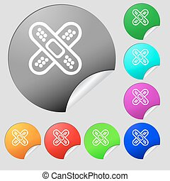 adhesive plaster icon sign. Set of eight multi colored round buttons, stickers. Vector