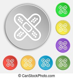 adhesive plaster icon sign. Symbol on eight flat buttons....