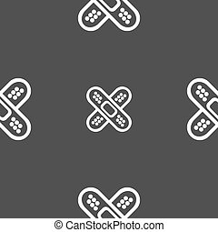 adhesive plaster sign. Seamless pattern on a gray...