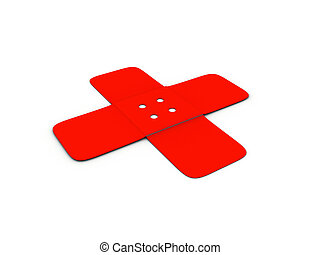 Sticking plasters ( adhesive ) in shape of cross on white background - 3d render