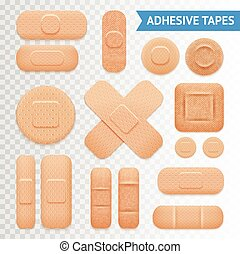 Adhesive Plaster Strips Set Transparent Background - Medical...