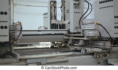 Adhesive PVC profile - plastic windows manufacture. 4k -...