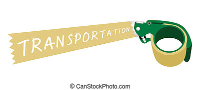 Adhesive Tape Dispenser With A Word Transportation - A Green...