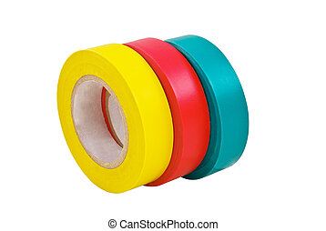 Adhesive tape isolated on white - Colored adhesive tape on a...