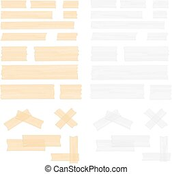 Adhesive Tape - Pieces of transparent adhesive tape, sticky...