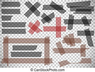 Adhesive tape pieces set on transparent background. Scotch. Vector Illustration