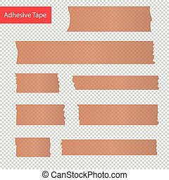 adhesive tape pieces set. Transparent
