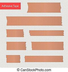 adhesive tape pieces set. Transparent