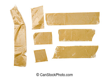 Adhesive Tape Strips - Strips of brown adhesive packaging...