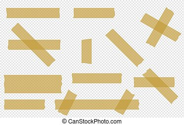 Adhesive tape transparent  pieces  vector set