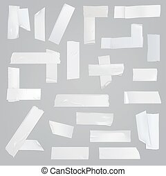 Adhesive tape various pieces realistic vector set - White ...