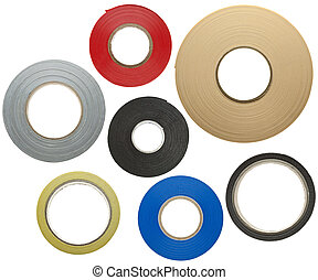 Adhesive tapes - Various adhesive tapes isolated on white...