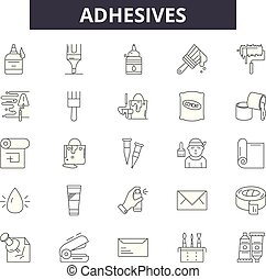 Adhesives line icons, signs set, vector. Adhesives outline concept, illustration: adhesive,isolated,deblack,white