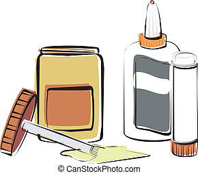 Adhesives - Rubber cement, white glue and a glue stick.