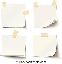 adhesivo, colección, nota, vario, papeles, esquina, cinta, blanco, rizado