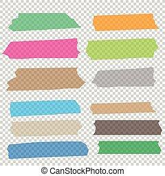 adhesivo, conjunto, colección, pedazos, vector, cinta