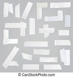 adhesivo, conjunto, pedazos, realista, vector, vario, cinta