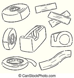 adhesivo, conjunto, vector, cinta