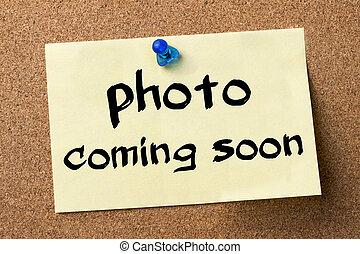 adhesivo, foto, -, pronto, etiqueta, fijado, tabla, venida, ...
