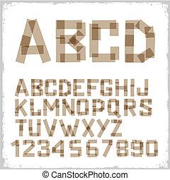 adhesivo, hecho, cartas, alfabeto, cinta, números