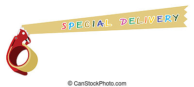adhesivo, palabra, entrega, dosificador de cinta, especial
