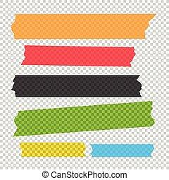 adhesivo, set., colección, pedazos, vector, cinta