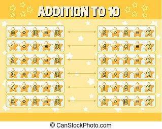 adição, estrelas, amarela, dez