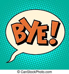 adiós, texto, cómico, adiós, burbuja