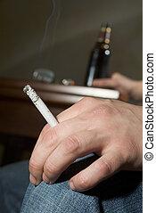 adicción, a, fumar, y, alcohol