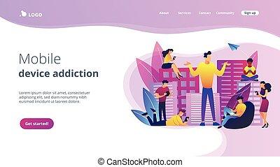 adicción, concepto, page., aterrizaje, smartphone