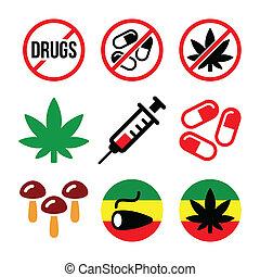 adicción, drogas, marijuana, iconos