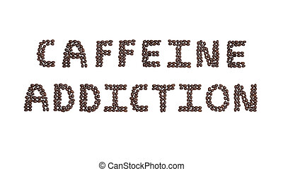 adicción, granos de café, cafeína, escrito