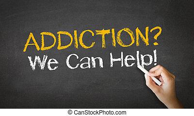 adicción, nosotros, lata, ayuda, tiza, ilustración