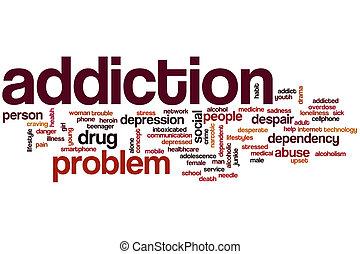 adicción, palabra, nube