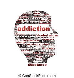 adicción, símbolo, blanco, aislado, plano de fondo